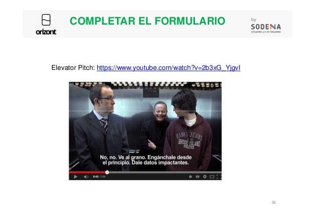 COMPLETAR EL FORMULARIO Elevator Pitch: https://www.youtube.com/watch?v=2b3xG_YjgvI 36
