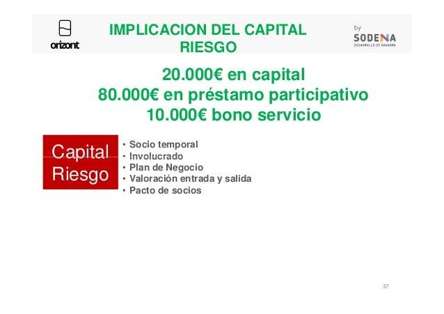 IMPLICACION DEL CAPITAL RIESGO • Socio temporal • Involucrado 20.000€ en capital 80.000€ en préstamo participativo 10.000€...