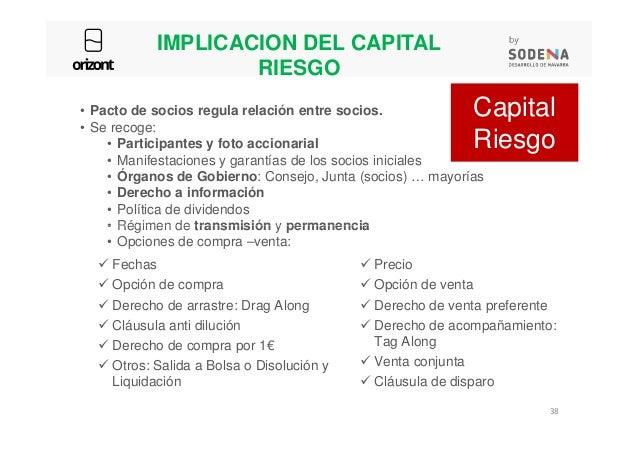 IMPLICACION DEL CAPITAL RIESGO • Pacto de socios regula relación entre socios. • Se recoge: • Participantes y foto acciona...