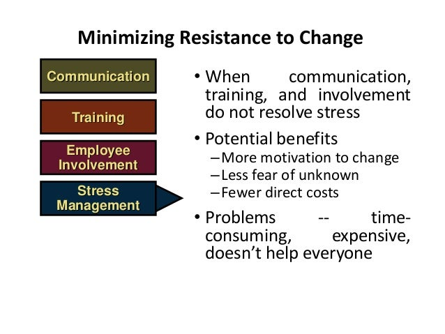 organizational change and resistance intervention Factors affecting resistance to change: organizational change has been defined as a planned alteration in where as the control group received no intervention.