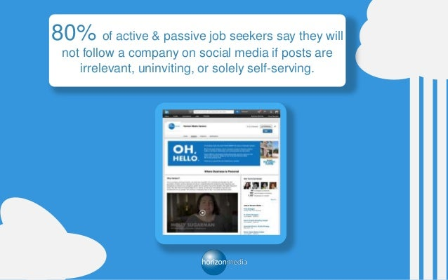 80% of active & passive job seekers say they will not follow a company on social media if posts are irrelevant, uninviting...
