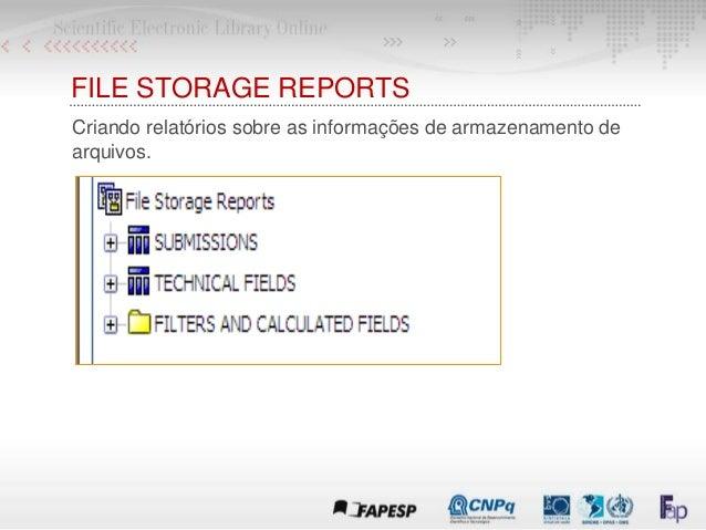 FILE STORAGE REPORTS Criando relatórios sobre as informações de armazenamento de arquivos.
