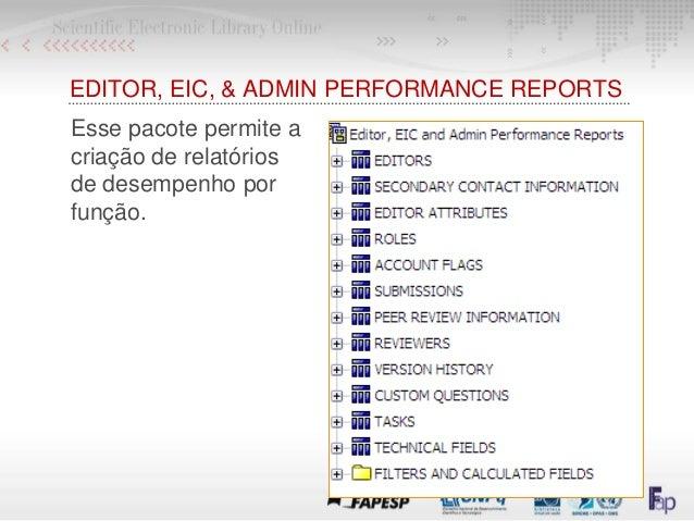 EDITOR, EIC, & ADMIN PERFORMANCE REPORTS Esse pacote permite a criação de relatórios de desempenho por função.