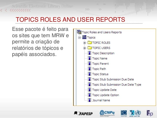 TOPICS ROLES AND USER REPORTS Esse pacote é feito para os sites que tem MRW e permite a criação de relatórios de tópicos e...