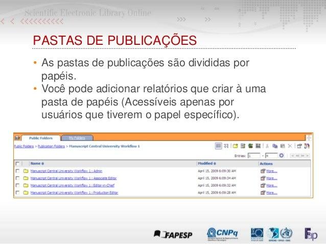 PASTAS DE PUBLICAÇÕES • As pastas de publicações são divididas por papéis. • Você pode adicionar relatórios que criar à um...