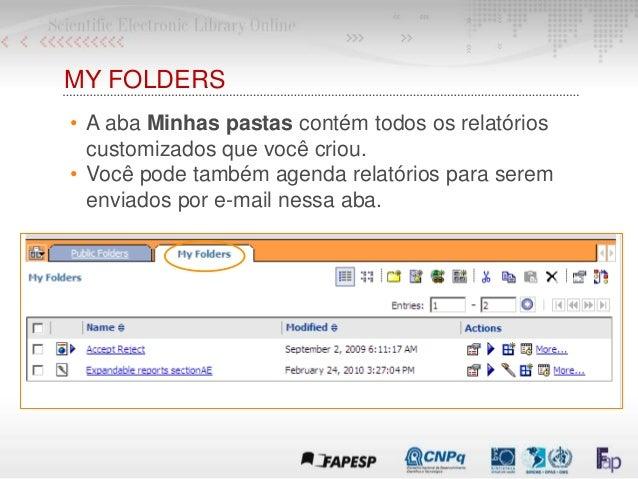 MY FOLDERS • A aba Minhas pastas contém todos os relatórios customizados que você criou. • Você pode também agenda relatór...