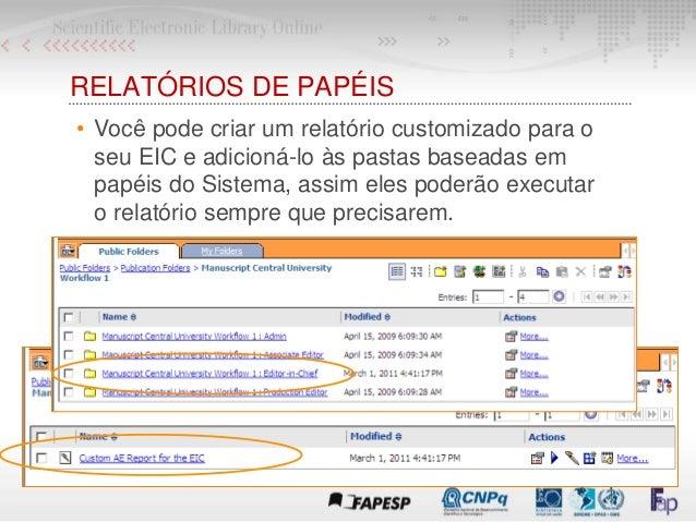 RELATÓRIOS DE PAPÉIS • Você pode criar um relatório customizado para o seu EIC e adicioná-lo às pastas baseadas em papéis ...