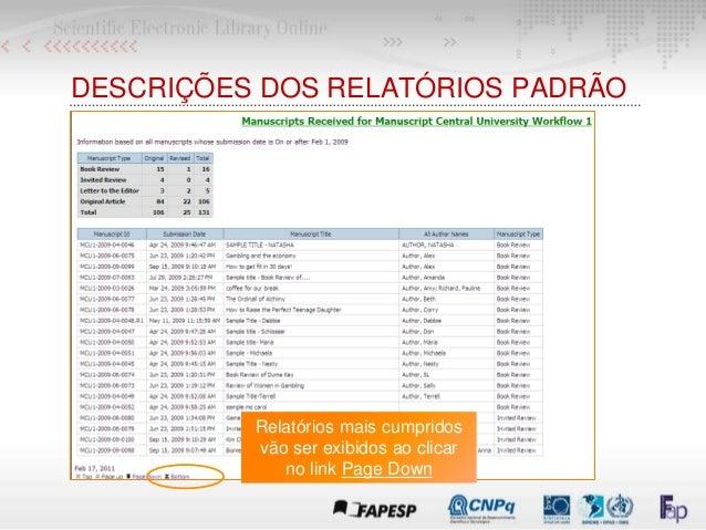Relatórios mais cumpridos vão ser exibidos ao clicar no link Page Down DESCRIÇÕES DOS RELATÓRIOS PADRÃO