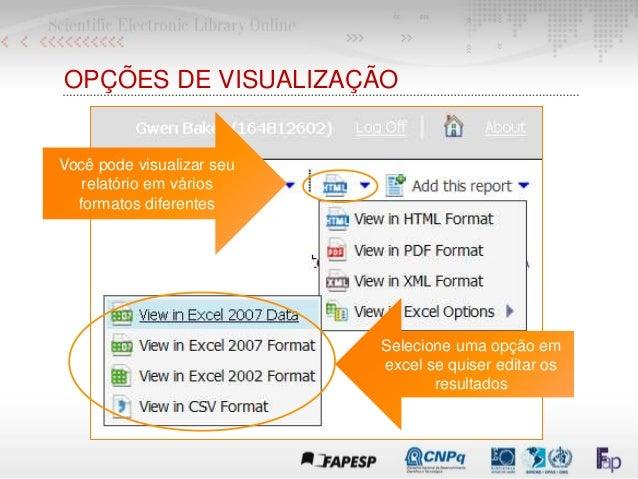 OPÇÕES DE VISUALIZAÇÃO Você pode visualizar seu relatório em vários formatos diferentes Selecione uma opção em excel se qu...