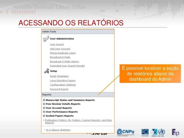 ACESSANDO OS RELATÓRIOS É possível localizer a seção de relatórios abaixo da dashboard do Admin