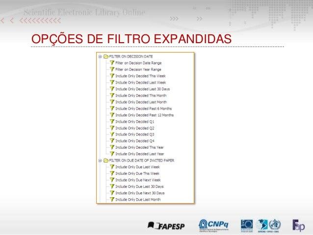 OPÇÕES DE FILTRO EXPANDIDAS