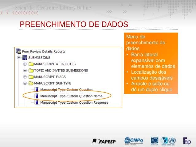PREENCHIMENTO DE DADOS Menu de preenchimento de dados • Barra lateral expansível com elementos de dados • Localização dos ...