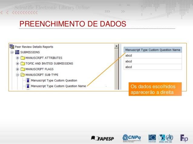 PREENCHIMENTO DE DADOS Os dados escolhidos aparecerão a direita