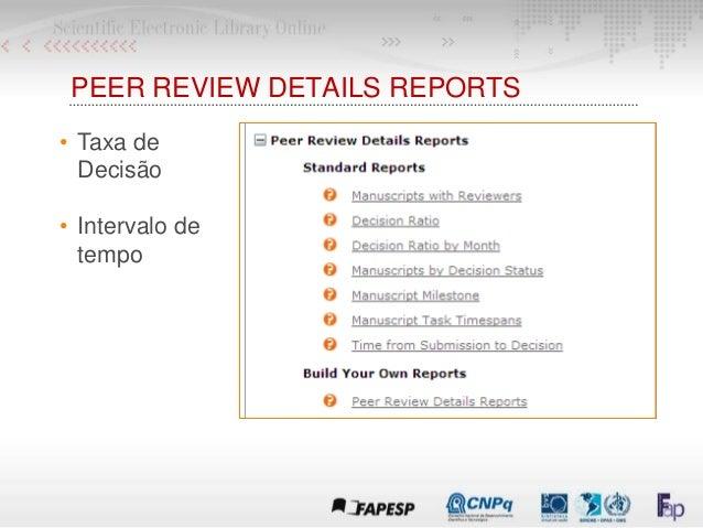 PEER REVIEW DETAILS REPORTS • Taxa de Decisão • Intervalo de tempo