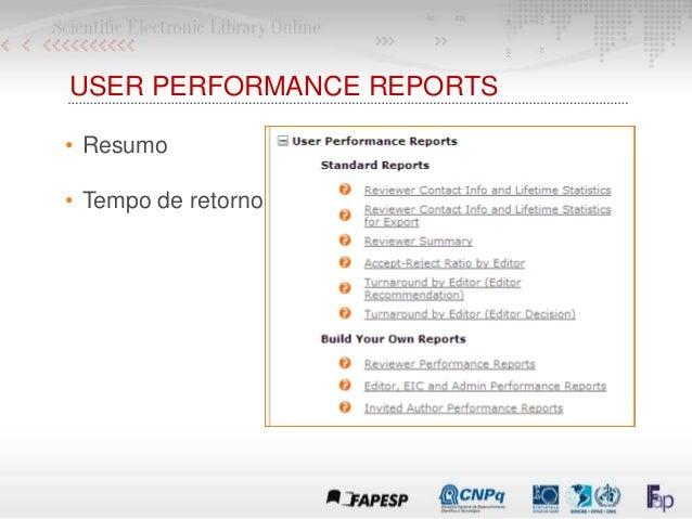 USER PERFORMANCE REPORTS • Resumo • Tempo de retorno