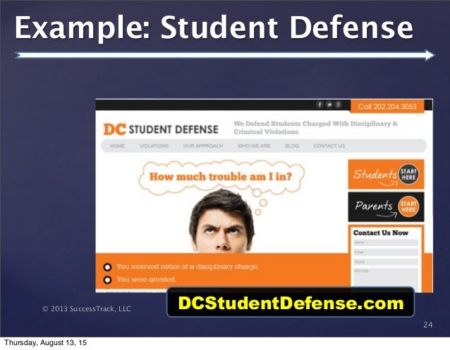 © 2013 SuccessTrack, LLC 24 Example: Student Defense DCStudentDefense.com Thursday, August 13, 15