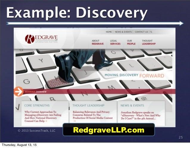 © 2013 SuccessTrack, LLC 25 Example: Discovery RedgraveLLP.com Thursday, August 13, 15