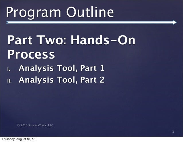 © 2013 SuccessTrack, LLC Program Outline Part Two: Hands-On Process I. Analysis Tool, Part 1 II. Analysis Tool, Part 2 3 T...