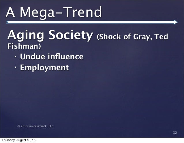 © 2013 SuccessTrack, LLC A Mega-Trend Aging Society (Shock of Gray, Ted Fishman) • Undue influence • Employment 32 Thursday...