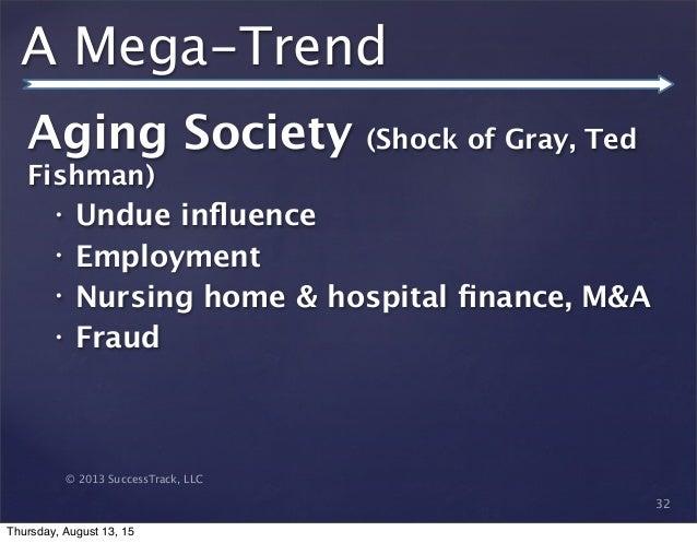 © 2013 SuccessTrack, LLC A Mega-Trend Aging Society (Shock of Gray, Ted Fishman) • Undue influence • Employment • Nursing h...