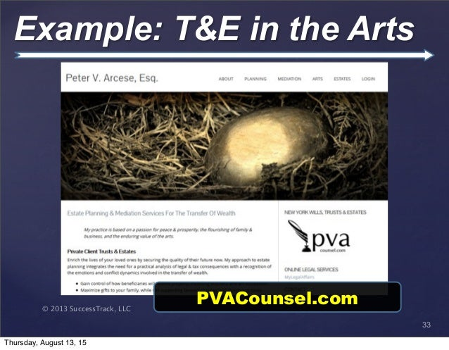 © 2013 SuccessTrack, LLC Example: T&E in the Arts 33 PVACounsel.com Thursday, August 13, 15