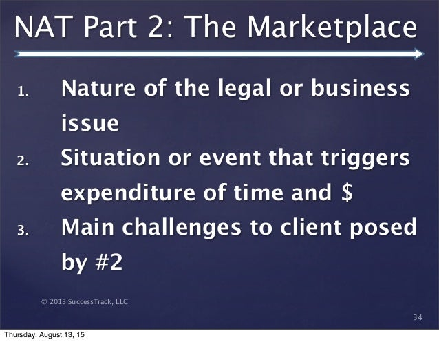 © 2013 SuccessTrack, LLC NAT Part 2: The Marketplace 34 1. Nature of the legal or business issue 2. Situation or event tha...