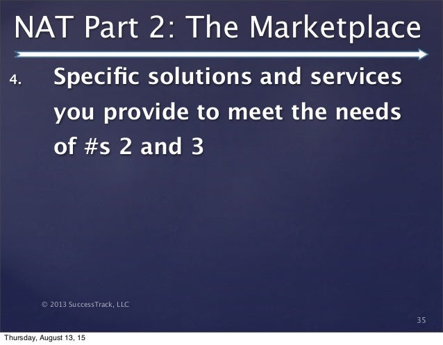 © 2013 SuccessTrack, LLC NAT Part 2: The Marketplace 35 4. Specific solutions and services you provide to meet the needs of...