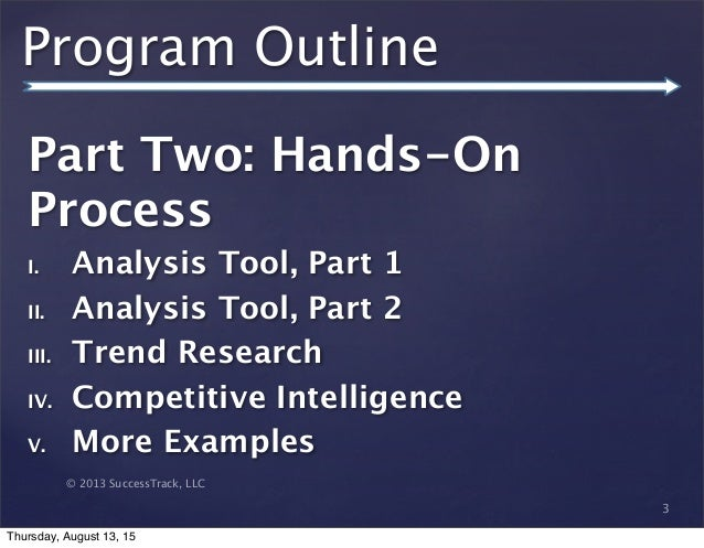 © 2013 SuccessTrack, LLC Program Outline Part Two: Hands-On Process I. Analysis Tool, Part 1 II. Analysis Tool, Part 2 III...