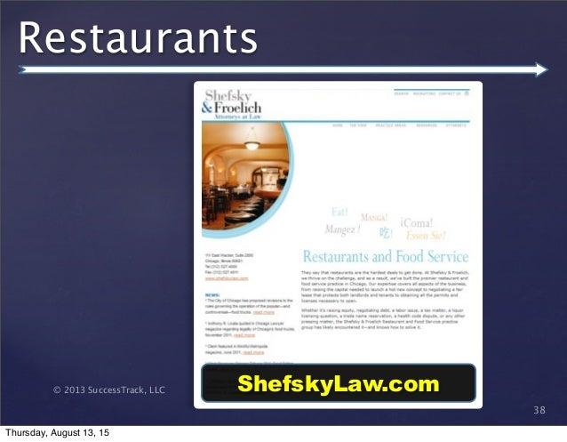 © 2013 SuccessTrack, LLC Restaurants 38 ShefskyLaw.com Thursday, August 13, 15