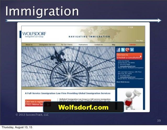 © 2013 SuccessTrack, LLC Immigration 39 Wolfsdorf.com Thursday, August 13, 15