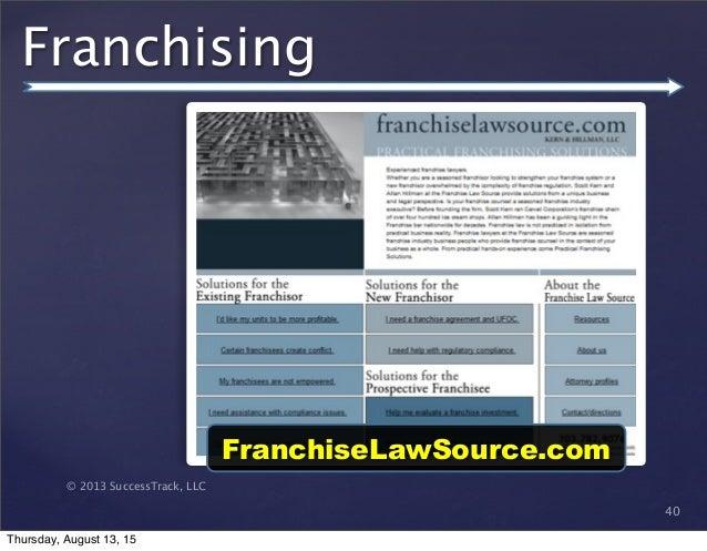 © 2013 SuccessTrack, LLC Franchising 40 FranchiseLawSource.com Thursday, August 13, 15