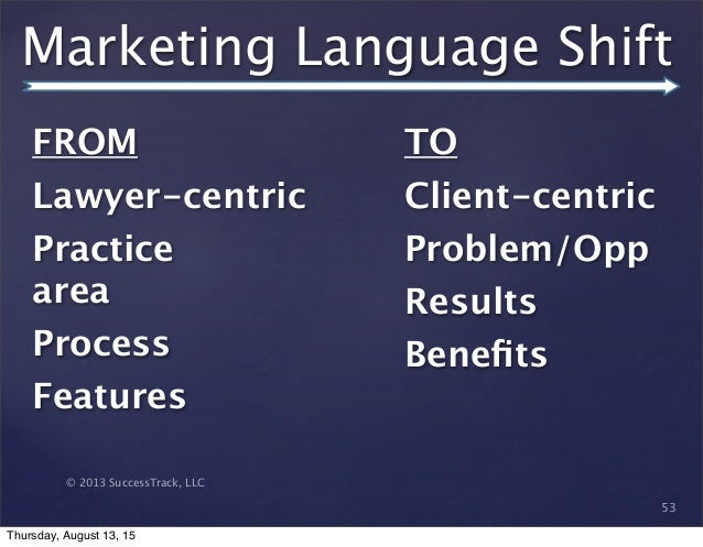 © 2013 SuccessTrack, LLC Marketing Language Shift 53 FROM   Lawyer-centric Practice area Process  Features    TO Client-ce...