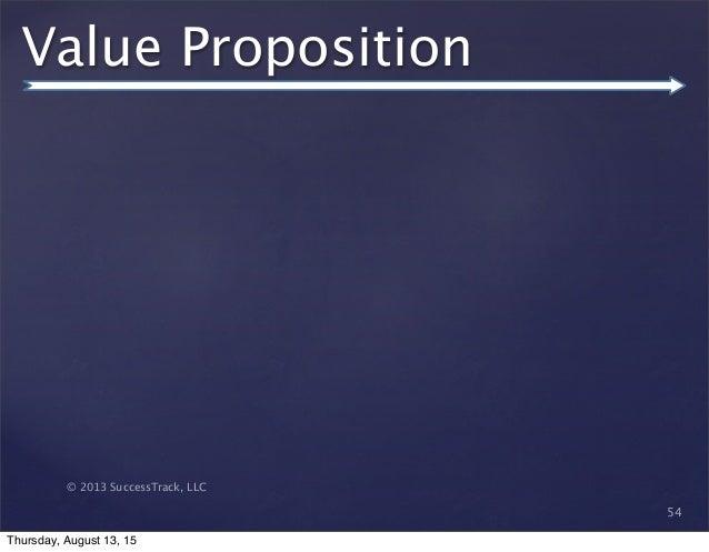 © 2013 SuccessTrack, LLC Value Proposition 54 Thursday, August 13, 15