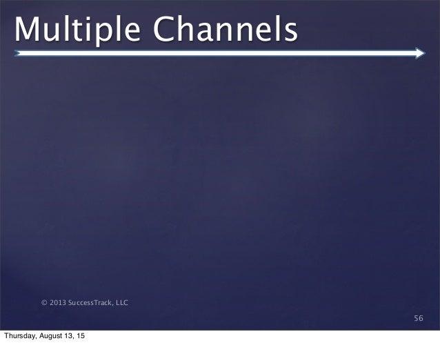 © 2013 SuccessTrack, LLC Multiple Channels 56 Thursday, August 13, 15