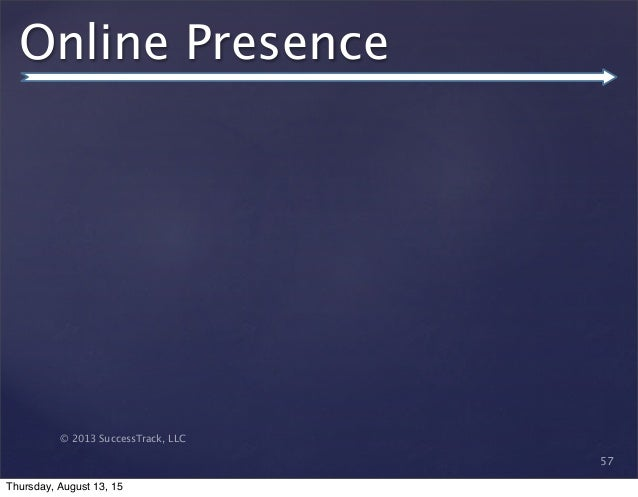 © 2013 SuccessTrack, LLC Online Presence 57 Thursday, August 13, 15