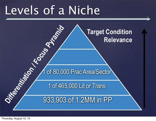 © 2013 SuccessTrack, LLC Levels of a Niche 933,903 of 1.2MM in PP 1 of 465,000 Lit or Trans 1 of 80,000 Prac Area/Sector T...
