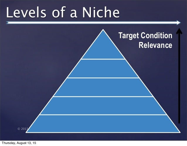 © 2013 SuccessTrack, LLC Levels of a Niche Target Condition Relevance Thursday, August 13, 15