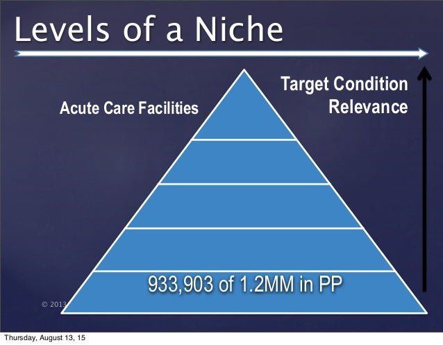 © 2013 SuccessTrack, LLC Levels of a Niche 933,903 of 1.2MM in PP Target Condition RelevanceAcute Care Facilities Thursday...