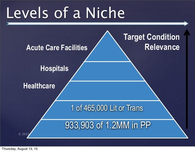 © 2013 SuccessTrack, LLC Levels of a Niche 933,903 of 1.2MM in PP 1 of 465,000 Lit or Trans Target Condition RelevanceAcut...