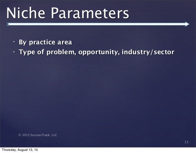 © 2013 SuccessTrack, LLC Niche Parameters • By practice area • Type of problem, opportunity, industry/sector 11 Thursday, ...