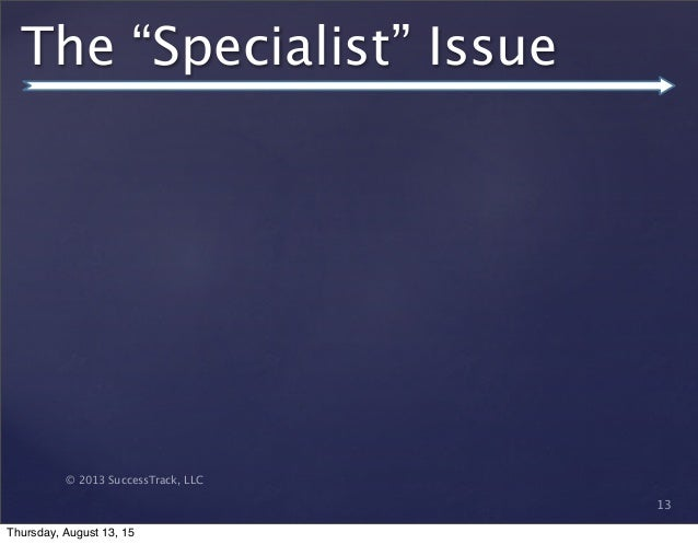"""© 2013 SuccessTrack, LLC 13 The """"Specialist"""" Issue Thursday, August 13, 15"""