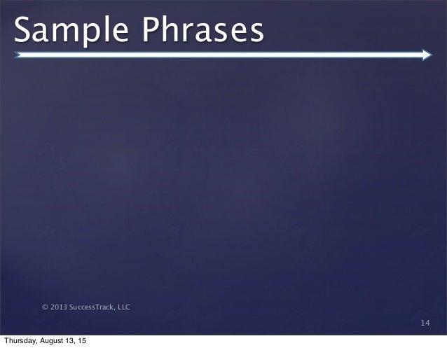 © 2013 SuccessTrack, LLC Sample Phrases 14 Thursday, August 13, 15
