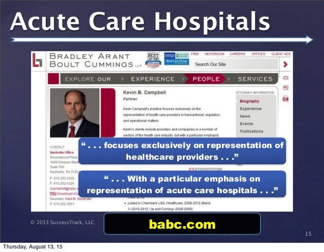 """© 2013 SuccessTrack, LLC Acute Care Hospitals 15 """" . . . focuses exclusively on representation of healthcare providers . ...."""