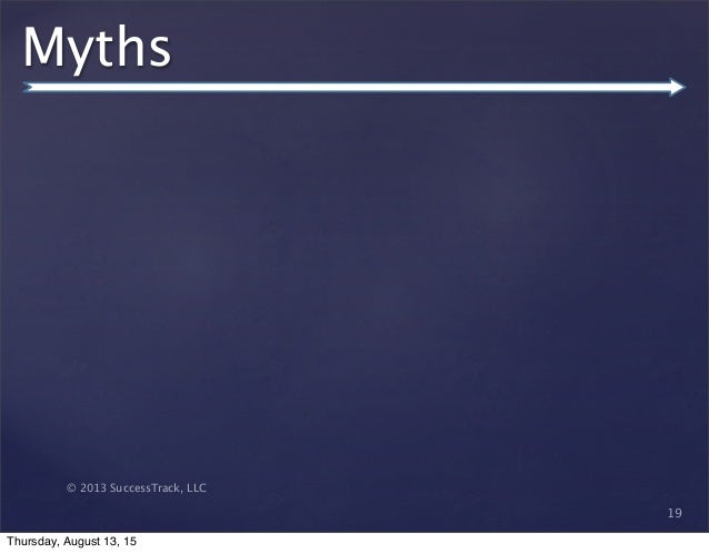 © 2013 SuccessTrack, LLC Myths 19 Thursday, August 13, 15