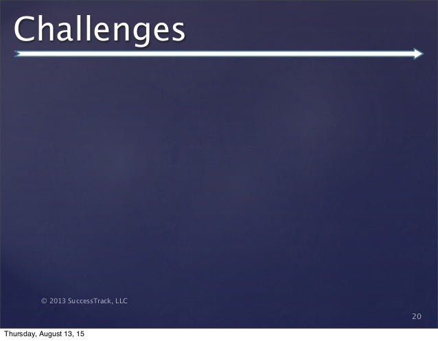 © 2013 SuccessTrack, LLC Challenges 20 Thursday, August 13, 15