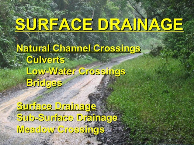 SURFACE DRAINAGESURFACE DRAINAGE Natural Channel CrossingsNatural Channel Crossings CulvertsCulverts Low-Water CrossingsLo...