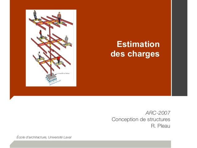 Estimation des charges ARC-2007 Conception de structures R. Pleau École d'architecture, Université Laval