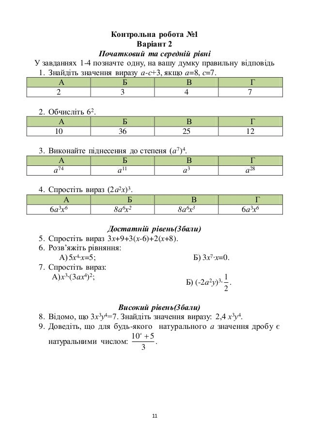 11 Контрольна робота №1 Варіант 2 Початковий та середній рівні У завданнях 1-4 позначте одну, на вашу думку правильну відп...