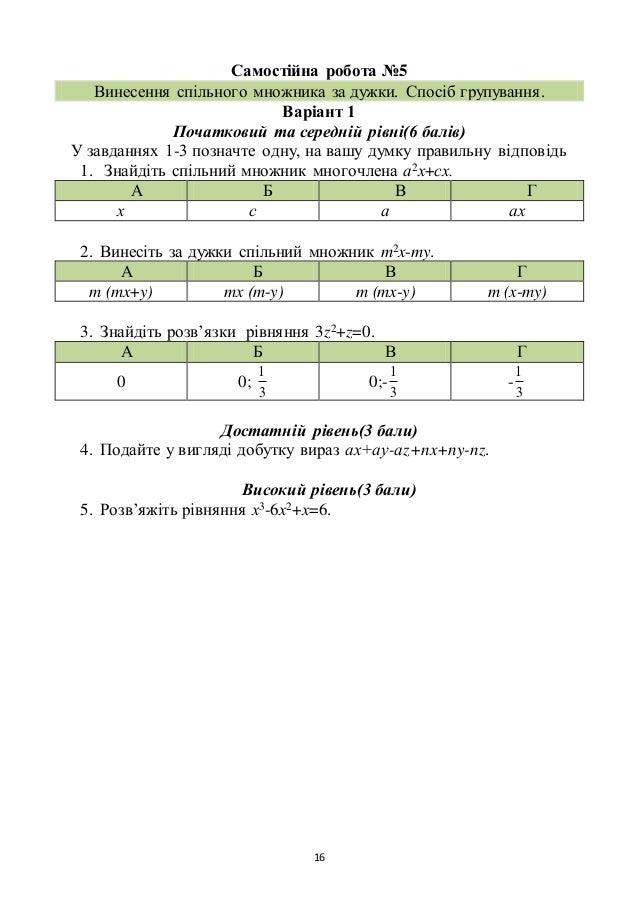 16 Самостійна робота №5 Винесення спільного множника за дужки. Спосіб групування. Варіант 1 Початковий та середній рівні(6...