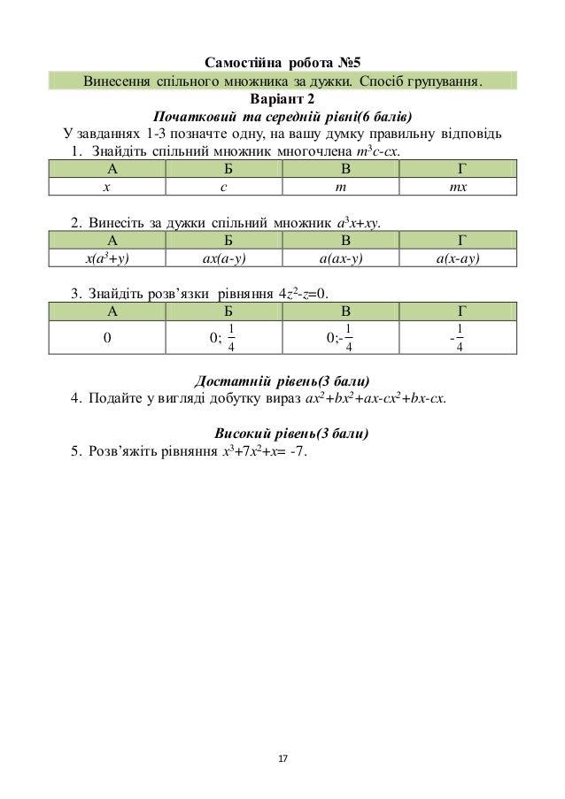 17 Самостійна робота №5 Винесення спільного множника за дужки. Спосіб групування. Варіант 2 Початковий та середній рівні(6...